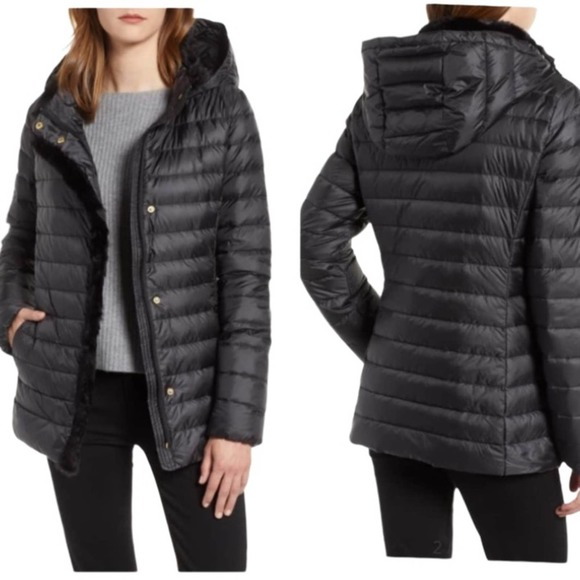 Cole Haan Colby Faux Fur Trim Puffer Jacket S